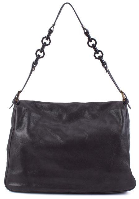 FENDI Black Gold Hardware Shimmer Coated Forever Mama Shoulder Bag
