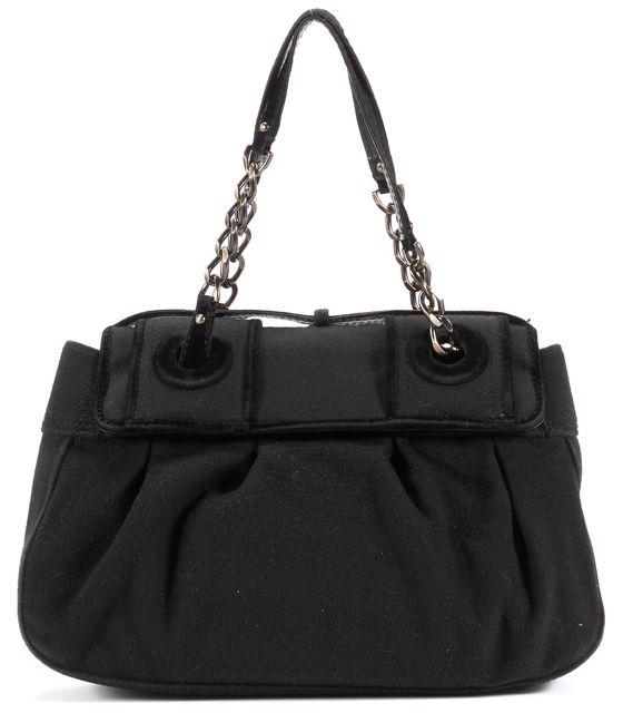 FENDI Black Felted Brass Hardware Chain Strap Top Handle Bag