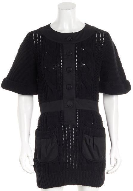 FENDI Black Short Cuff Sleeve U-Neck 2 Pocket Button Front Sweater Dress