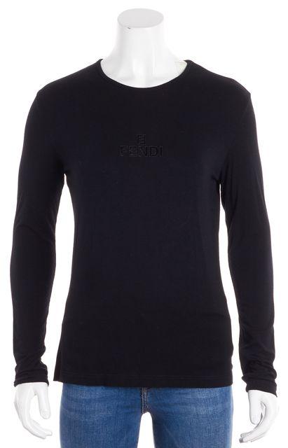 FENDI Black Logo Knit Top