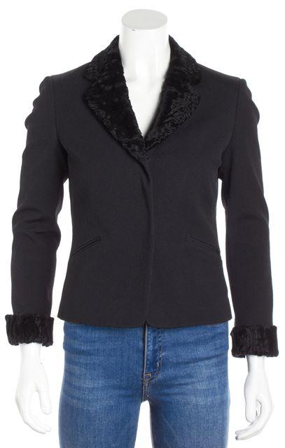 FENDI Black Breit Fur Trim Three Button Blazer