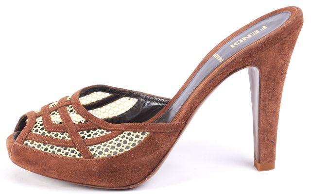 FENDI Brown Suede Mules Heels