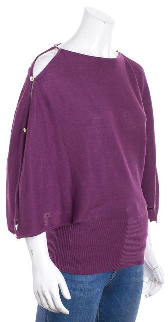 FENDI Purple Boat Neck Slit Dolman Sleeve Sweater