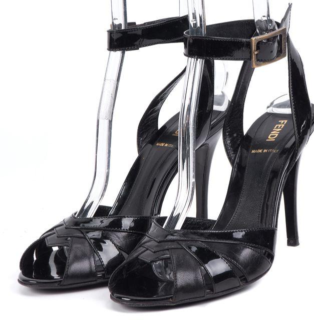 FENDI Black Open Toe Strap Heels