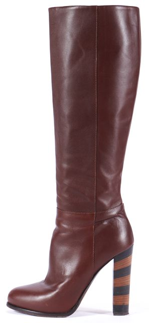 FENDI Choclate Brown Leather Knee-high Boot Tall Boots