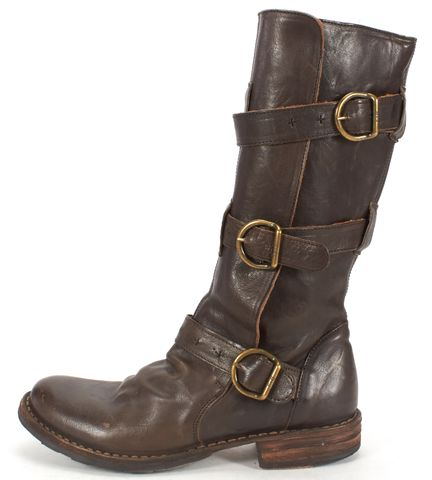 FIORENTINI + BAKER Brown Leather Strap Detail Mid-calf Boots Size 37.5