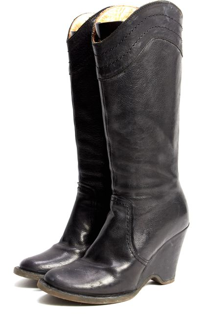 FIORENTINI + BAKER Black Leather Round Toe Mid-Calf Tall Wedge Boots