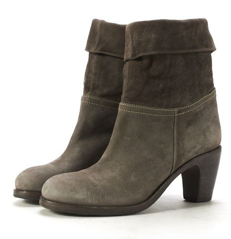 FIORENTINI + BAKER Gray Suede Stacked Heel Fold Over Ankle Boots