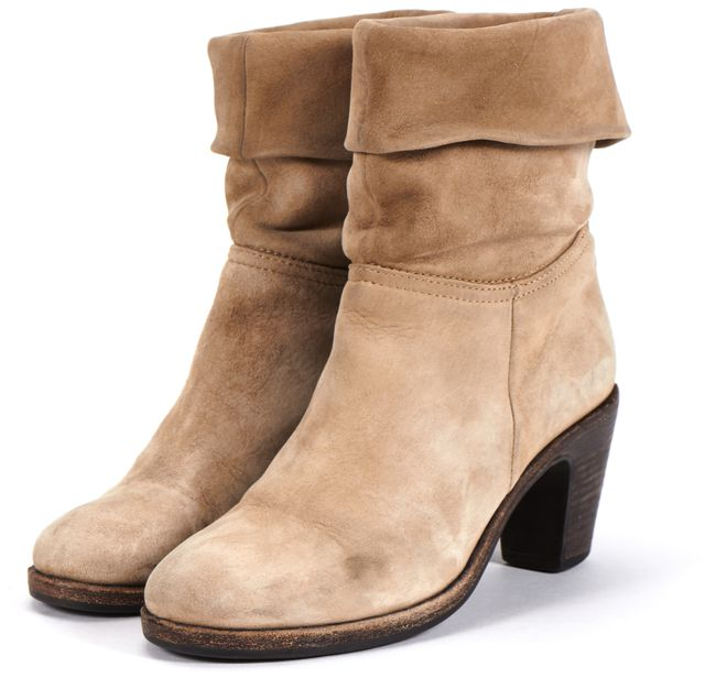 FIORENTINI + BAKER Beige Nubuck Suede Leather Stacked Heel Ankle Boots
