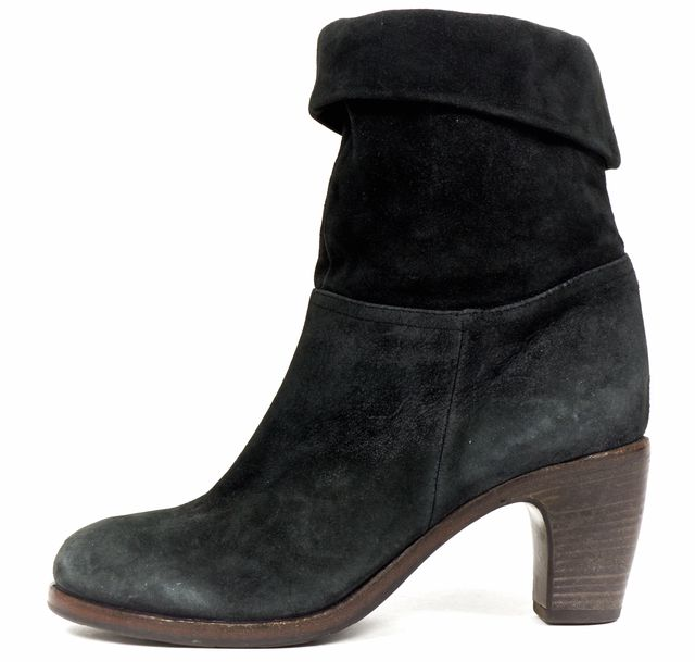 FIORENTINI + BAKER Black Suede Leather Fold Over Ankle Boots Heels
