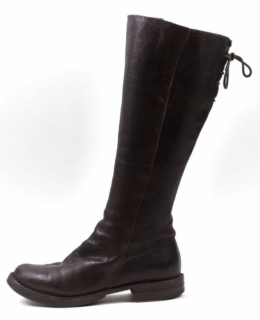 FIORENTINI + BAKER Brown Leather Emma Back Lace Detail Knee High Boots