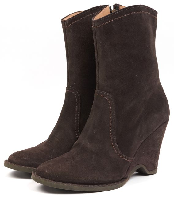 FIORENTINI + BAKER Brown Suede Wedge Ankle Boots