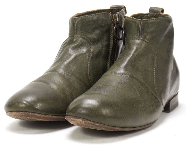 FIORENTINI + BAKER Olive Green Leather Side Zip Round Toe Ankle Boots