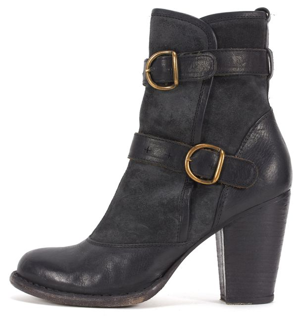 FIORENTINI + BAKER Black Leather Two Buckle Stacked Heel Ankle Boots