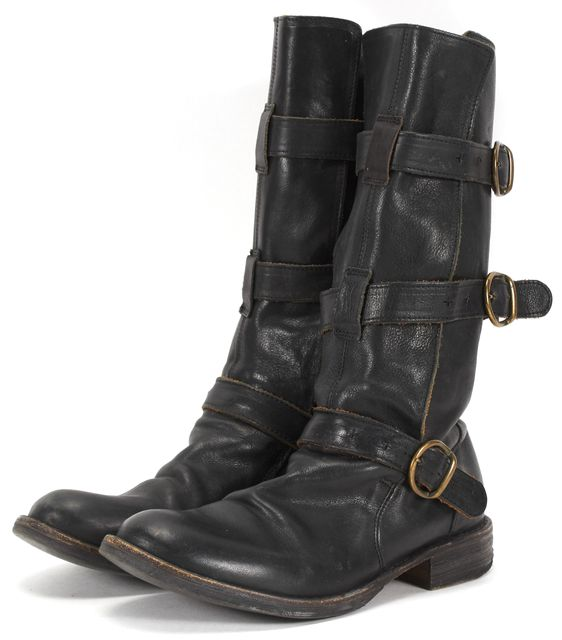 FIORENTINI + BAKER Black Leather Mid-Calf Buckle Side Boots Tall Boots