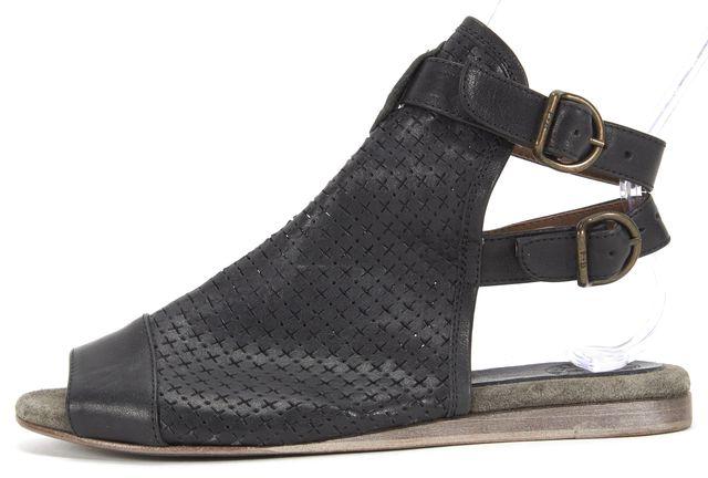 FIORENTINI + BAKER Black Perforated Leather Gladiator Sandals