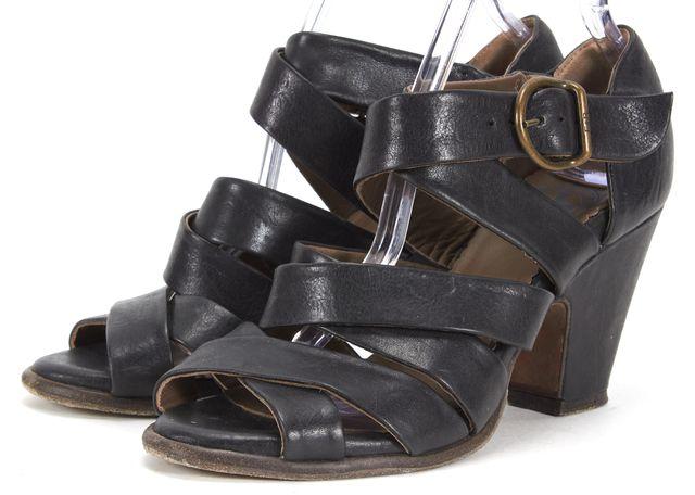 FIORENTINI + BAKER Black Leather Multi Strap Sandal Heels