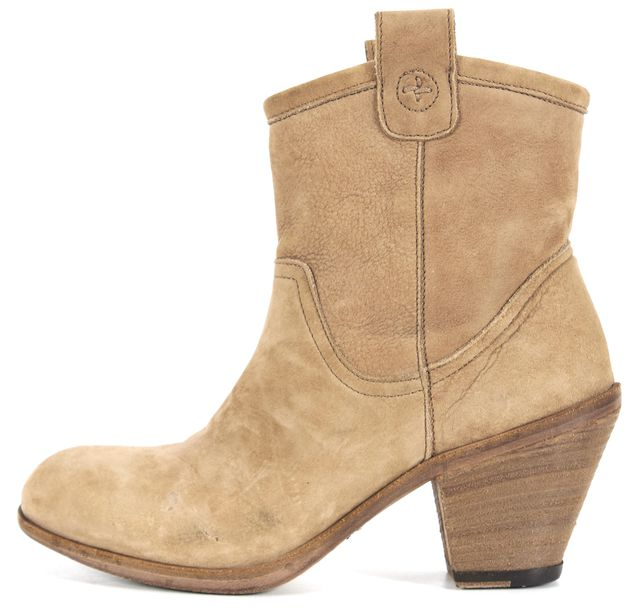 FIORENTINI + BAKER Beige Suede Round Toe Zip Side Ankle Boots