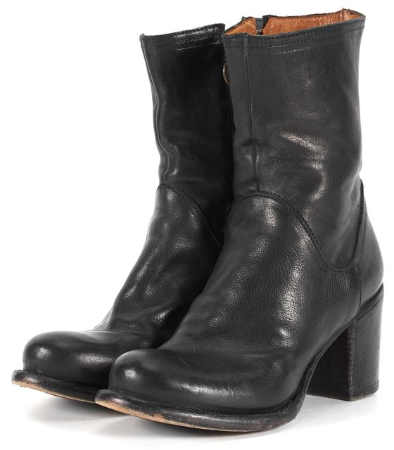FIORENTINI + BAKER Black Leather Round Toe Chunky Heel Ankle Boots