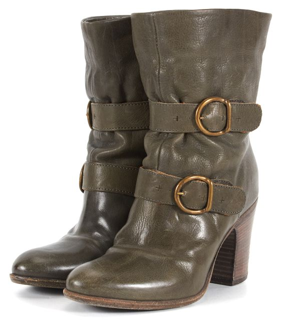 FIORENTINI + BAKER Olive Green Two Buckle Leather Round Toe Ankle Boots