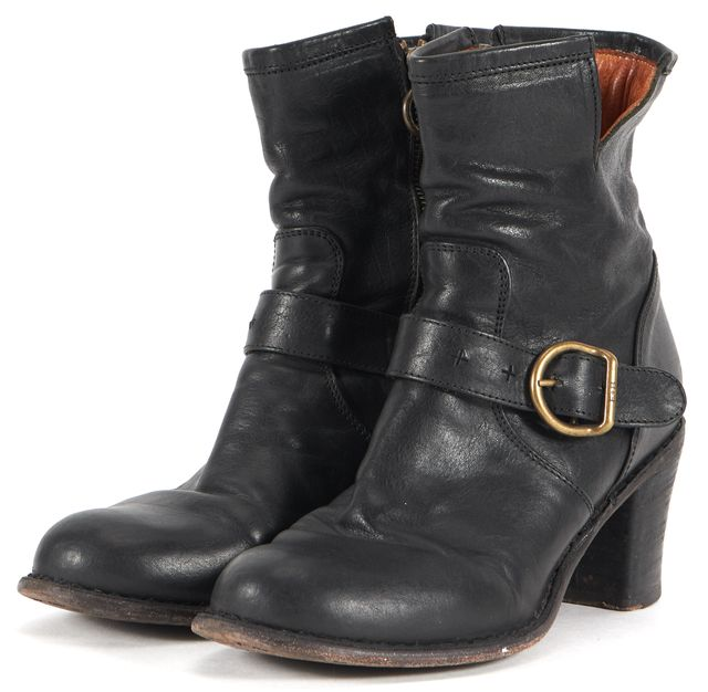 FIORENTINI + BAKER Black Leather Block Heeled Ankle Boots
