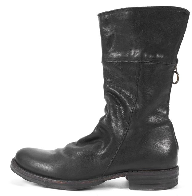 FIORENTINI + BAKER Black Leather Mid-Calf Motorcycle Boots