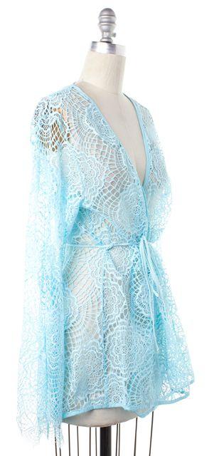FOR LOVE & LEMONS Light Blue Lace Wrap Top Fits Like a S
