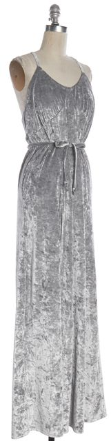 FOR LOVE & LEMONS Gray Velvet Side Split Maxi Dress