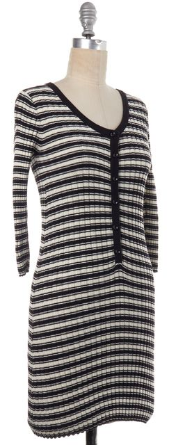 FOR LOVE & LEMONS Black Ivory Striped Rib Knit Dress