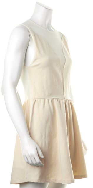 FOR LOVE & LEMONS Ivory Stretch Cotton Sheer Yoke & Back Fit Flare Dress