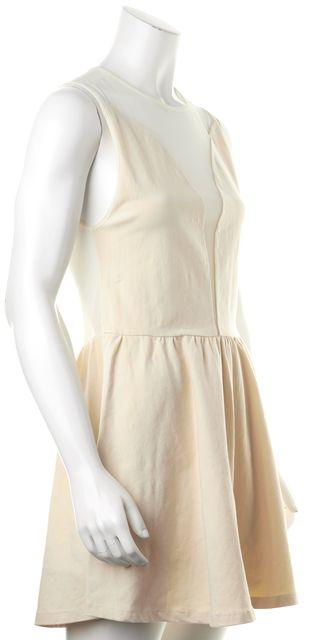 FOR LOVE & LEMONS Ivory Stretch Cotton Sheer Yoke & Back Fit Flare Dress