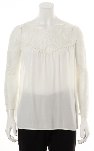 FOR LOVE & LEMONS White Floral Embroidered Mesh Semi Sheer Blouse