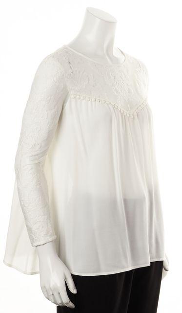 FOR LOVE & LEMONS White Floral Embroidered Mesh Semi Sheer Blouse