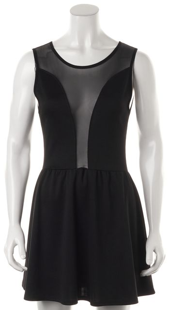 FOR LOVE & LEMONS Black Mesh Panel Sleeveless Fit & Flare Dress