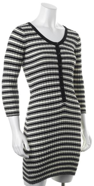 FOR LOVE & LEMONS Black Ivory Striped Ribbed Knit V-Neck Sheath Dress