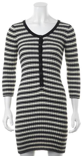 FOR LOVE & LEMONS Black Ivory Striped Ribbed Knit V-Neck Sheath Dress