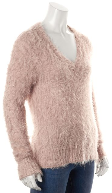 FOR LOVE & LEMONS Pink Fuzzy V-Neck Sweater