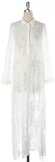 FOR LOVE & LEMONS White Floral Embroidered Sheer Two Split Maxi Dress