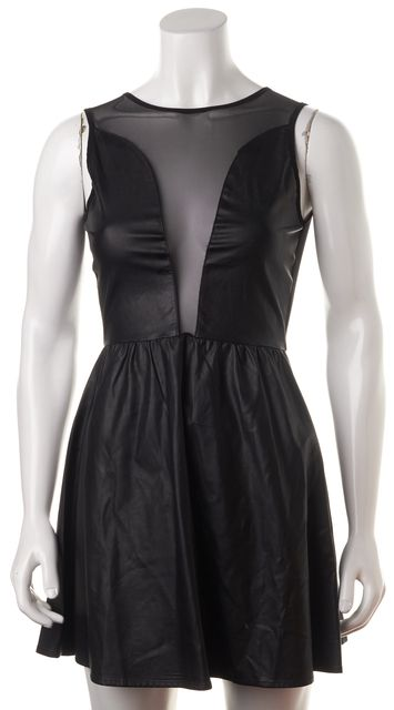 FOR LOVE & LEMONS Black Faux Leather Sheer Mesh Sleeveless Fit Flare Dress