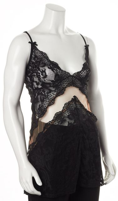 FOR LOVE & LEMONS Black Beige Lace Sheer Skivvies Tank Top