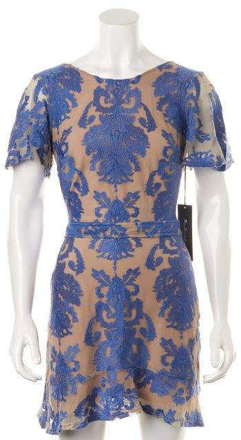 FOR LOVE & LEMONS Blue Beige Layered Lace Sheath Dress