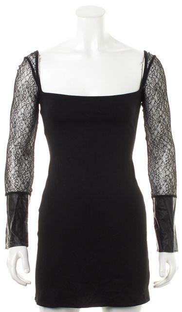 FOR LOVE & LEMONS Black Sheer Lace Long Sleeve Low-Cut Bodycon Dress