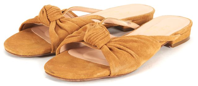 FOR LOVE & LEMONS Mustard Yellow Knotted Suede Slide Sandals