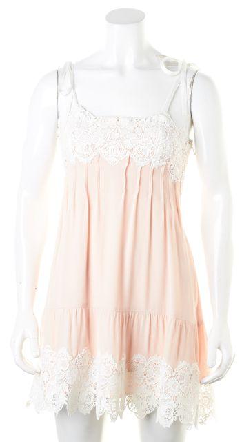 FOR LOVE & LEMONS Pink White Crochet Lace Spaghetti Straps Shift Dress