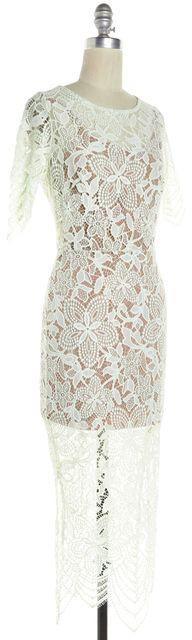 FOR LOVE & LEMONS Light Green Floral Lace Overlay Midi Sheath Dress