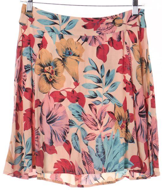 FOR LOVE & LEMONS Multi-color Floral A-Line Flare Skirt