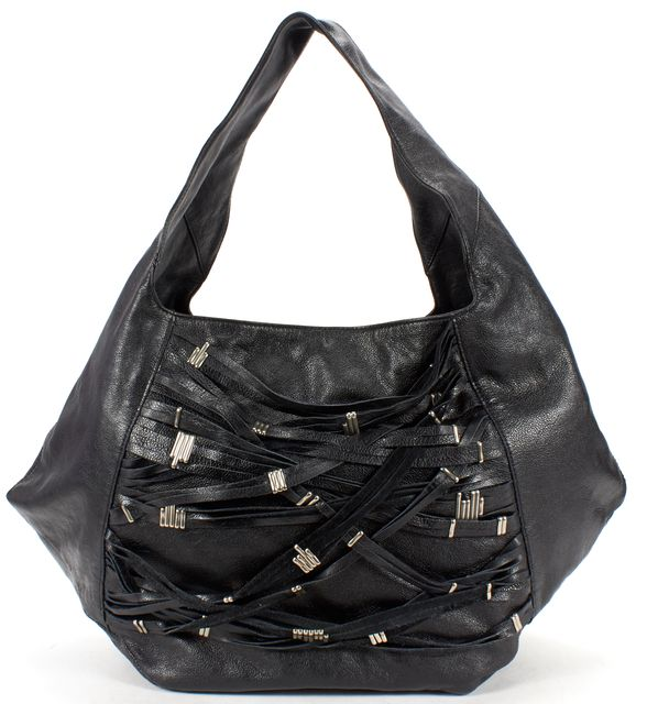 FOLEY CORINNA FOLEY + CORINNA Black Leather Silver Tone Oversized Hobo Bag