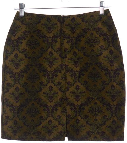 FREE PEOPLE Brown Purple Green Ornate Brocade Mini Skirt