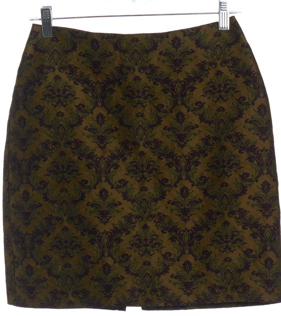 FREE PEOPLE Brown Purple Green Ornate Brocade Mini Skirt