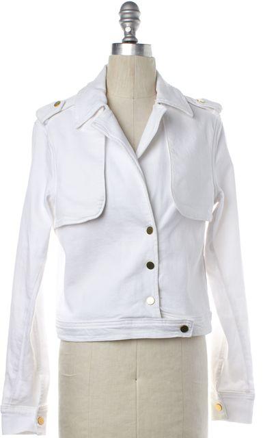 FRAME DENIM White Denim Moto Jacket